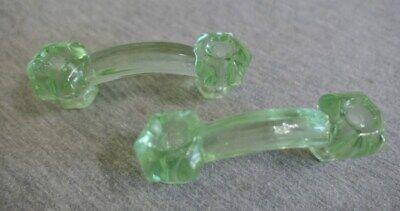 Pair Antique Deco Green Blown Glass Armoire Dresser Sideboard Drawer Handles 4
