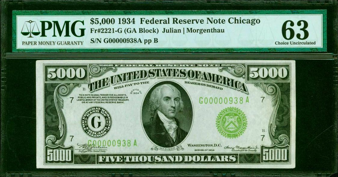 FR. 2221-G 1934 $5,000 FRN FEDERAL RESERVE NOTE PMG CHOICE UNCIRCULATED-63