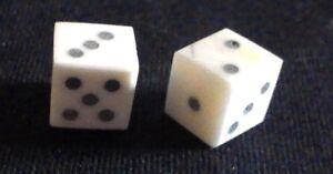 Two historic reproduction solid pip bone dice; c. 1cm