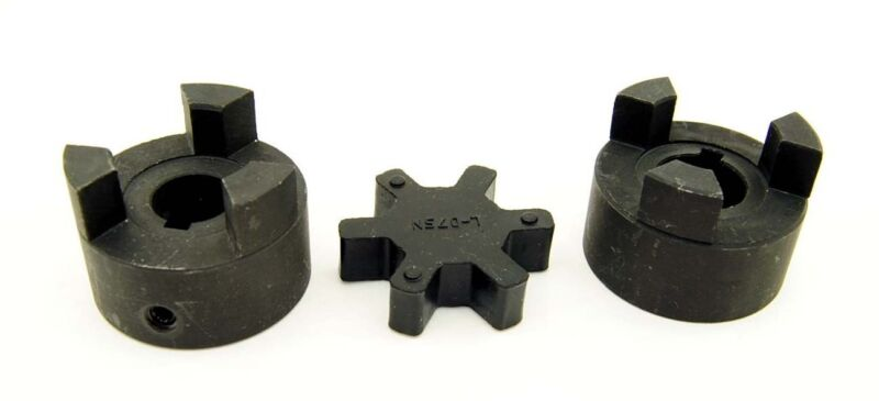 "1/2"" to 3/4"" L075 Flexible 3-Piece L-Jaw Coupling Set & Buna-N NBR Rubber Spider"