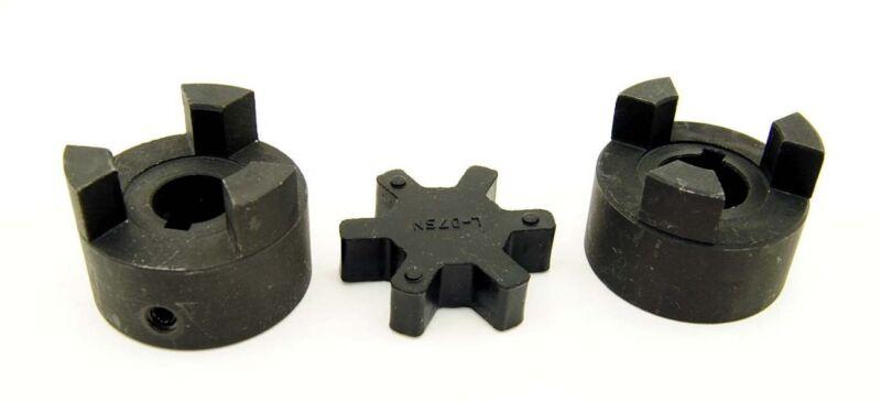 "1/2"" to 1"" L075 Flexible 3-Piece L-Jaw Coupling Coupler Set & NBR Rubber Spider"