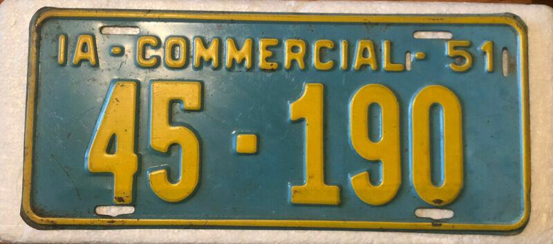 51 1951 Iowa License Plate Howard County 45-190