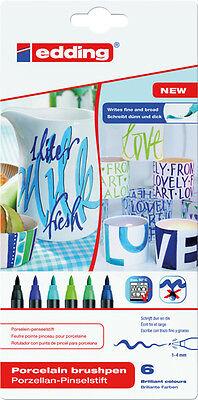 Edding 4200 Porzellan-Pinselstifte 1 - 4 mm - Set kalte Farben