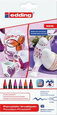 Edding 4200 Porzellan-Pinselstifte 1 - 4 mm - Set warme Farben