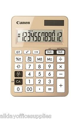 Canon LS-123K gold desktop calculator with tax function Battery & solar powered