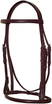Brown leather Raised English Hunt Bridle with laced reins