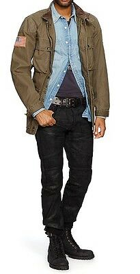 POLO RALPH LAUREN DENIM AND & SUPPLY OLIVE BROWN MILITARY WAXED MOTO
