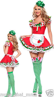 Strawberry Costume Women (Sexy STRAWBERRY SHORTCAKE Costume Adult Womens Cosplay - (Small Medium)