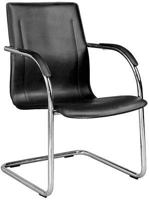 6 Black Chrome Framed Guest Office Desk Side Chairs