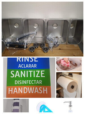 Portable 3 Compartment Concession Sink Ultra Kit Set 3 Large  1 Hand Wash