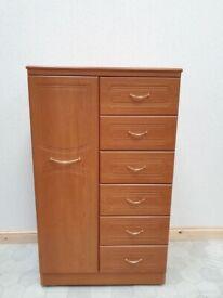 Combination Wardrobe Alstons Closet Bedroom Storage Wheeled MDF Shelves Drawers Used