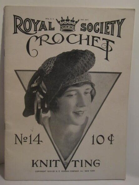 Old 1919 Royal Society Sewing Knitting Booklet w/ Crazy Photo Clothing