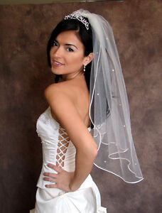 IVORY CRYSTAL RHINESTONE Bridal Wedding Veil New Satin Cord Trim 3