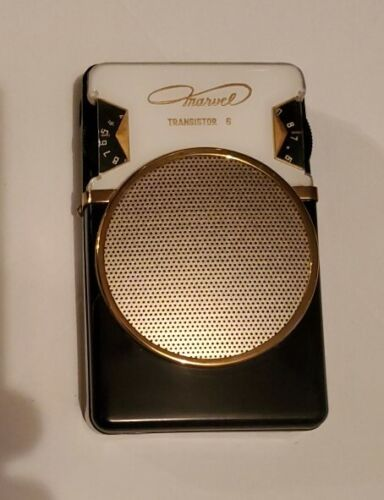 Attractive Mini Marvel Transistor Radio, Black with Reverse-painted Dial