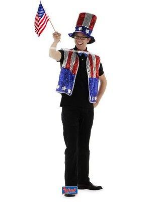 Amerika USA Kostüm Glitter 3-teilig Uncle Sam US America Cosume