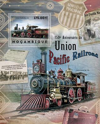 UNION PACIFIC Railroad 4-4-0 Locomotive #119 Train Stamp Sheet (2012 Mozambique)