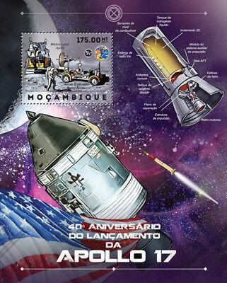 NASA APOLLO 17 Moon Landing / Lunar Rover Space Stamp Sheet (2012 Mozambique)