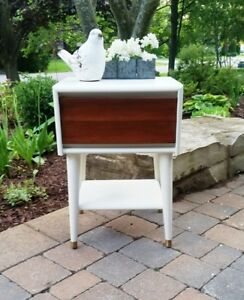 Painted and Refinished Mid Century Modern Night End Table