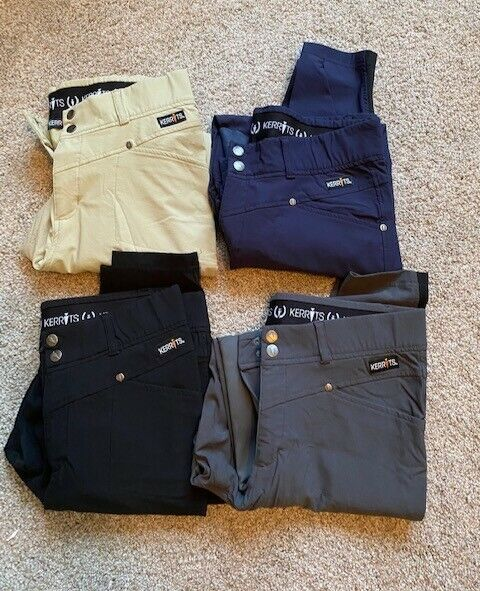 Kerrits Crossover Knee Patch Breeches - All Size L - Navy, Tan, Black, Grey