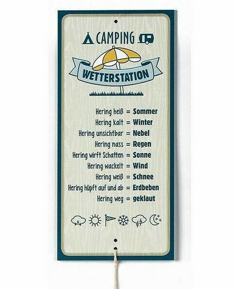 Metall Schild Wetterstation Camping 30x14cm mit Hering Geschenk Garten Deko