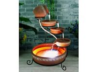Terracotta Cascade Water Feature - Solar panel, rechargeable battery, mains plug, LED light