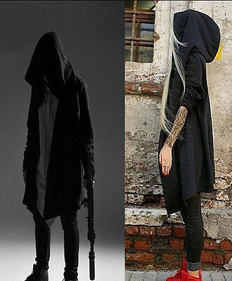 Mens Black Punk Hooded Poncho Cloack Cardigans Outerwear Loose Gothic Coat - Black Cloack