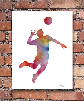 Volleyball Player Art Print Abstract Watercolor Painting Sports Wall (Abstract Musician Wall Art)