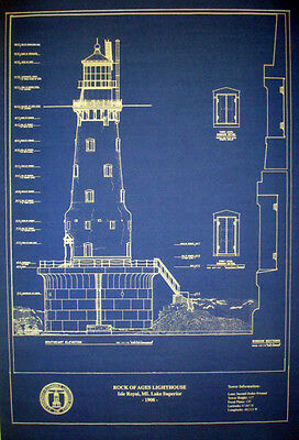 """Vintage Michigan Lighthouse Rock of Ages 1908 Blueprint Drawing 16""""x20"""" (296)"""