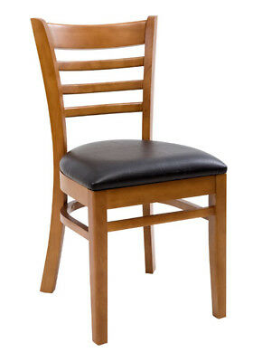 New Gladiator Wooden Cherry Ladder Back Restaurant Chair With Black Vinyl Seat
