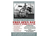 Free Drum lesson Open day Llandudno 29th October 2016