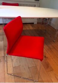 4 RED DINING CHAIRS