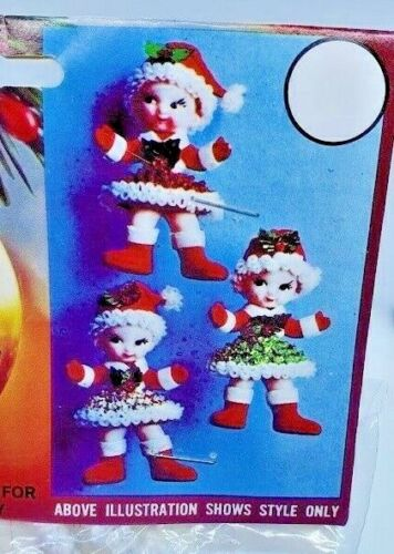 Walco CHRISTMAS ELVES Pixies Vintage Sequin Bead Christmas Ornament Craft Kit