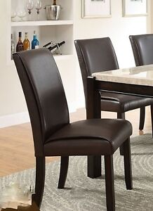 Leatherette Parsons chairs, brown, NEW in boxes