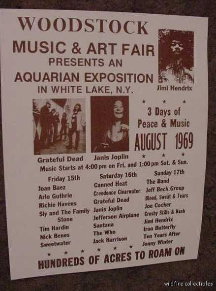 WOODSTOCK MUSIC CONCERT FESTIVAL 1969 POSTER PRINT 60'S art hippie photo sepia