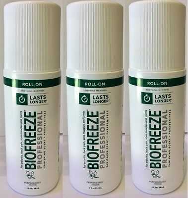 Brand New Biofreeze Gel 3 Oz. ROLL-ON (3-PACK) Cooling Pain Reliever