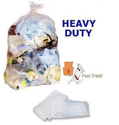 50 x Strong Heavy Duty Clear Refuse Sacks Bags 18x29x39