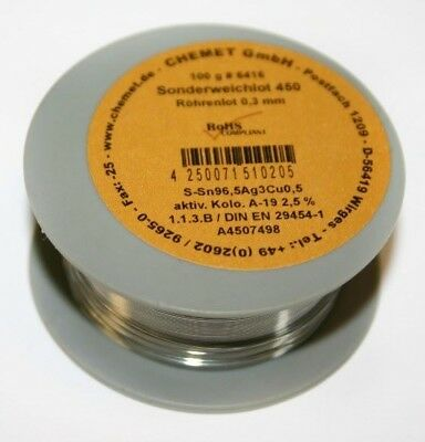Rare Alloy Lead Free Solder Wire Sn96.5ag3cu0.5 0.3mm 100g With Flux By Chemet