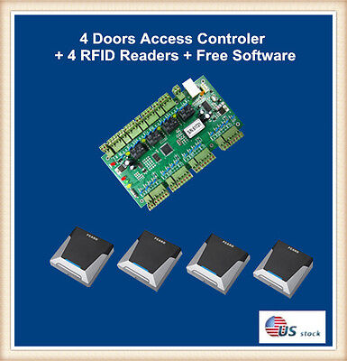 4 Doors Access Control Board+4 RFID Readers+Free Software
