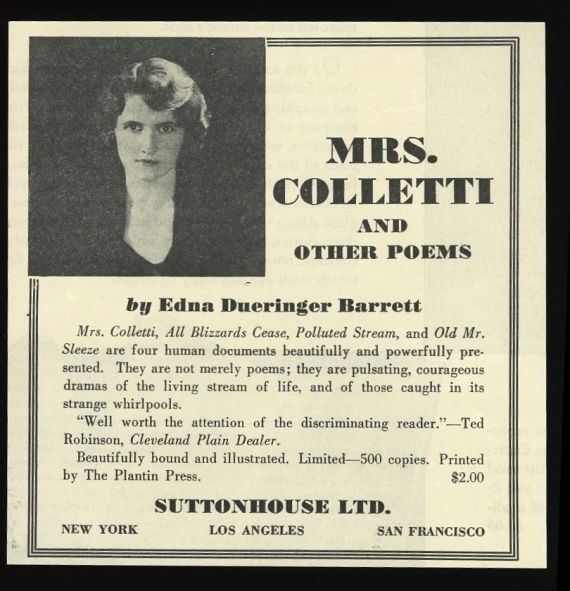 1936 Edna Dueringer Barrett photo Mrs. Colletti and other Poems book release ad