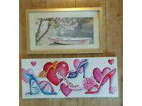 2 x feminine floral fashion artwork picture canvas