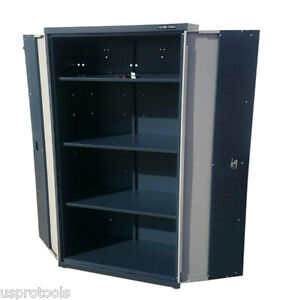 236 us pro metal garage tall large grey storage cupboard tool chest tool box ebay. Black Bedroom Furniture Sets. Home Design Ideas