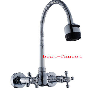 wall mounted chrome spring spray kitchen faucet mixer tap