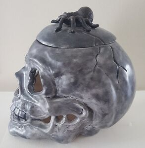 Hand Made Ceramic Skull with Spider on removable skull cap