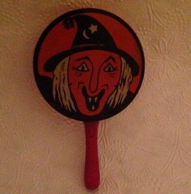 Vintage Halloween witch tin litho noisemaker Kirchhof metal toy