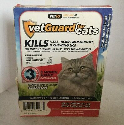 New VetGuard Flea Treatment Tick Lice Medicine for Cats, All Sizes,3Month Supply