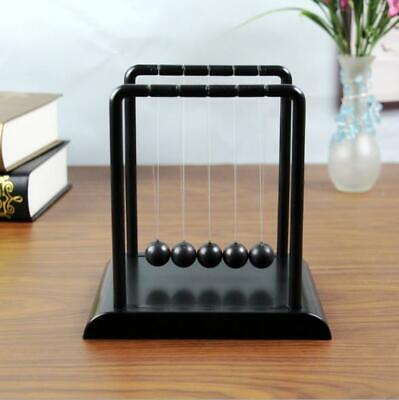 Black Newtons Cradle Steel Balance Balls Physics Science Pendulum Desk Accessory