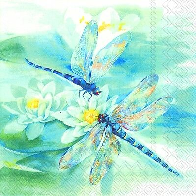 DRAGONFLY Blue IHR paper 33cm square lunch napkins 20 pack