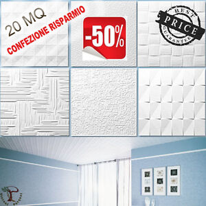 20mq piastrelle decorative 3d per soffitti coprifumo e for Pannelli in polistirolo per soffitti