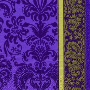 Velvet purple gold napkins sumptuous luxury paper napkins new 20 in pack