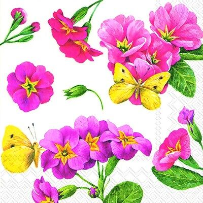 PINK PRIMROSE white Floral Flowers paper lunch napkins new 20 in pack